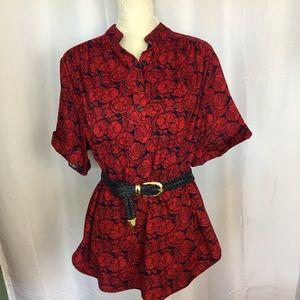 80s floral print popover blouse shirt L / XL / 1X